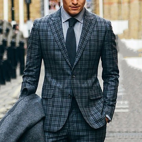 Business casual men's lapel single-breasted plaid blazer