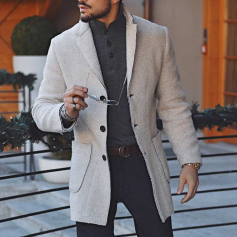 Men's Fashion Single-Breasted Notch Lapel Solid Color Coat