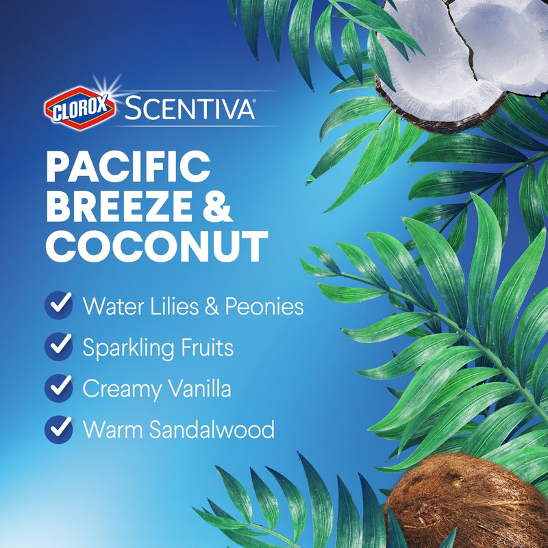 Clorox Scentiva Disinfecting Wet Mopping Pad Refills, Pacific Breeze & Coconut, 12 Count, 2 Pack
