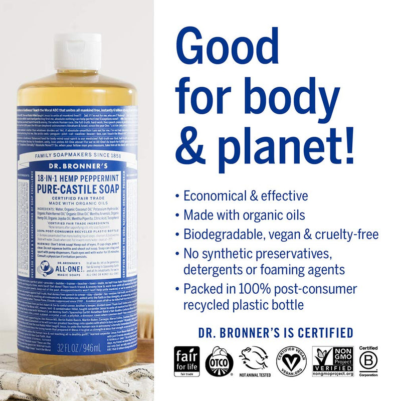 Dr. Bronner 18 in 1 Hemp Peppermint Pure Castile Soap W/ Organic Oils - 25 oz, 2 Pack