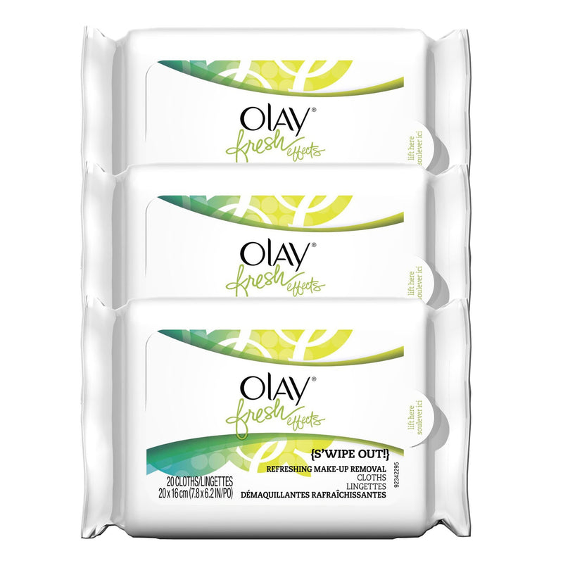 Olay Fresh Effects S'wipe Out, Refreshing Make-up Removal Cloths - 20 Count (Pack of 3)