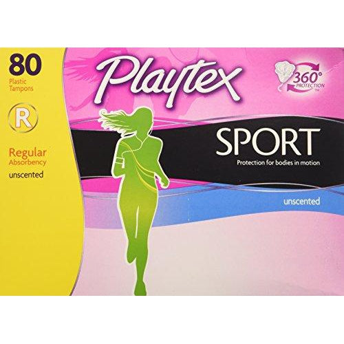 Playtex Sport Unscented Regular Absorbency Tampons, 80 Count