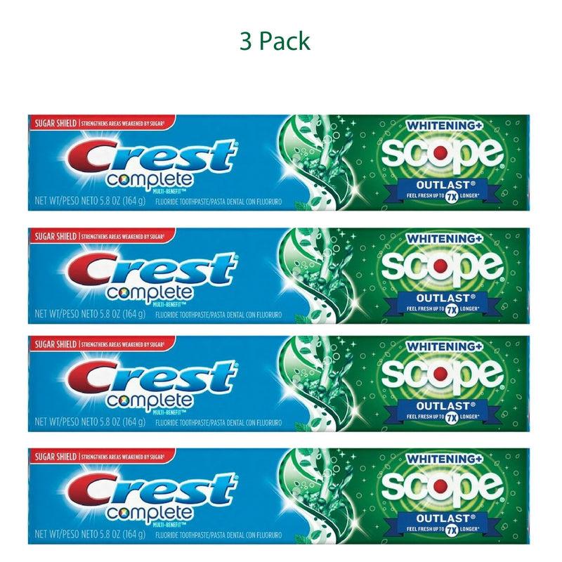 Crest Complete Multi Whitening & Scope Outlast Toothpaste, Mint 5.8oz, 4 Pack