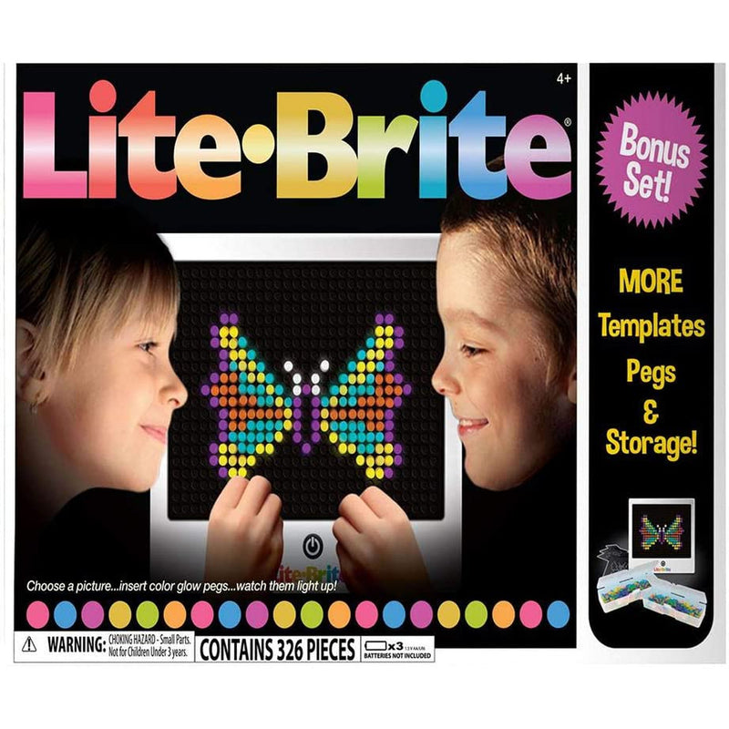 Lite Brite Magic Screen Retro Deluxe Light Bonus Set, More Templates Pegs & Storage, 326 Pieces