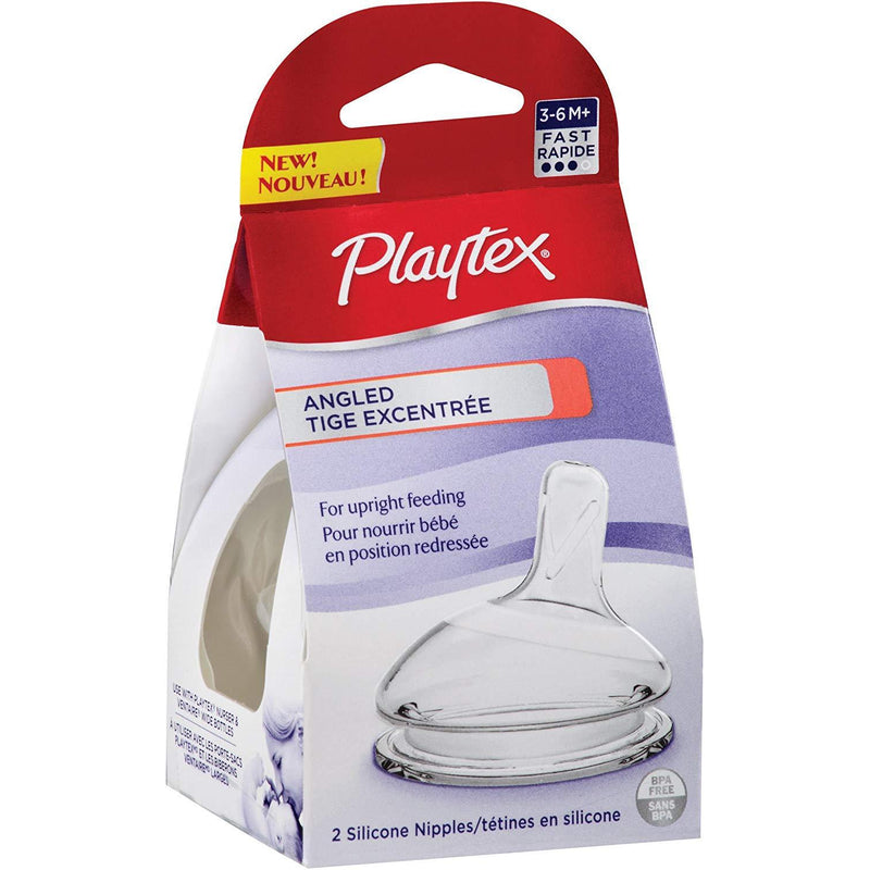Playtex Angled Nipple, Fast Flow, 2-Count