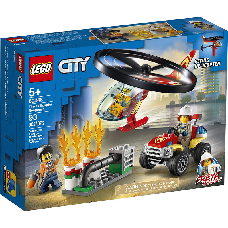 LEGO City Fire Helicopter Response, Flying Helicopter 60248, 93 Pieces Firefighter Building Set