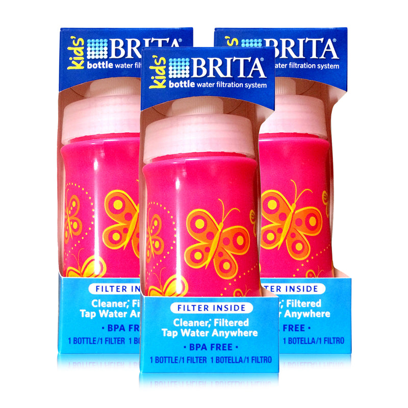 Brita Soft Squeeze Water Filter Bottle BPA Free For Kids, Pink Butterflies, 13oz