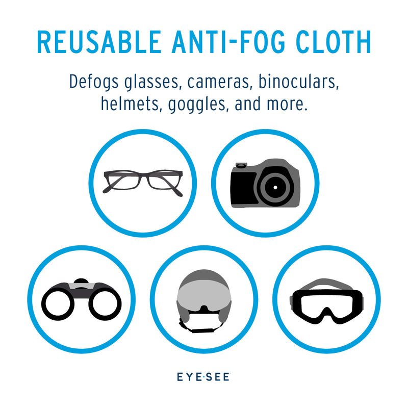 EyeSee Reusable Anti-Fog Cloth - Cleaning Cloth for Glasses, Cameras, Electronics and More - Reusable up to 700 Times