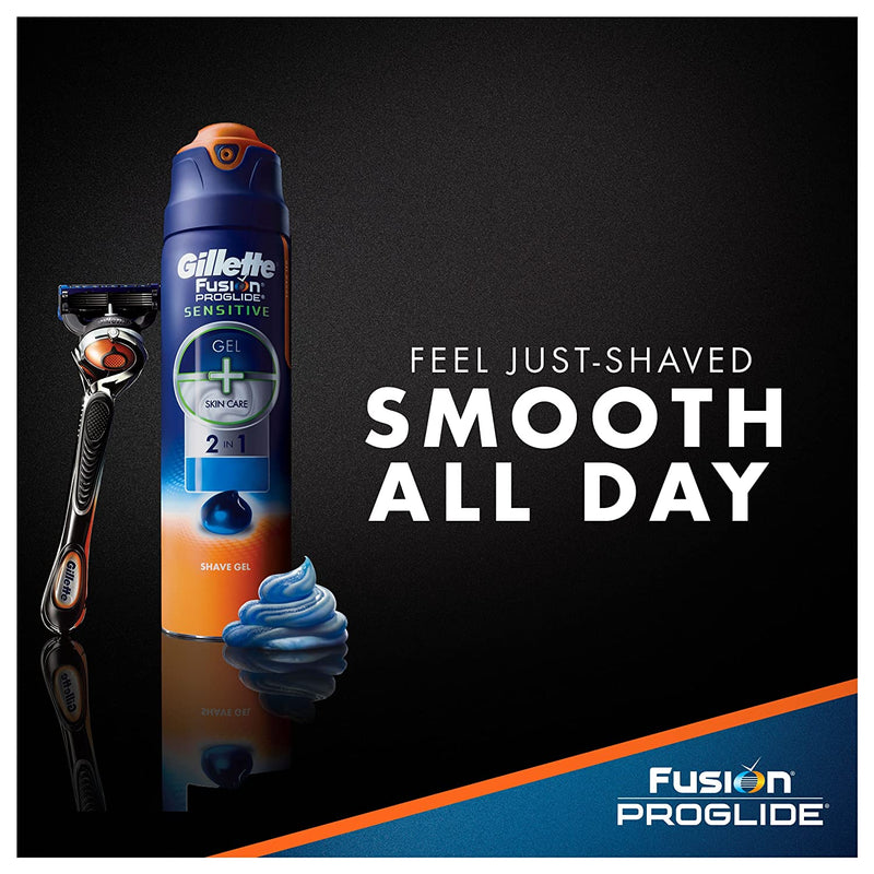 Gilette Fusion Proglide 2 in 1 Shave Gel, Ocean Breeze, 6 Oz, 3 Pack