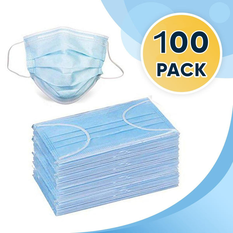 Disposable Face Mask, 3-Ply Facial Cover Masks with Ear Loop, Breathable Non-Woven, 100 Count