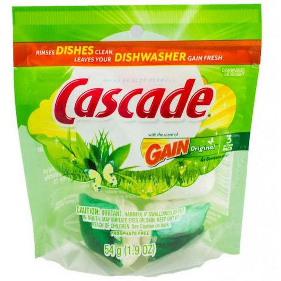 Cascade Dishwasher Detergent Gain Original Scent Phosphate Free 4x power 3 Action Packs