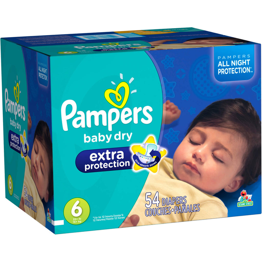 Pampers Extra Protection Baby Dry Overnight Disposable Diapers Size 6, 54 Count, Bulk Pack
