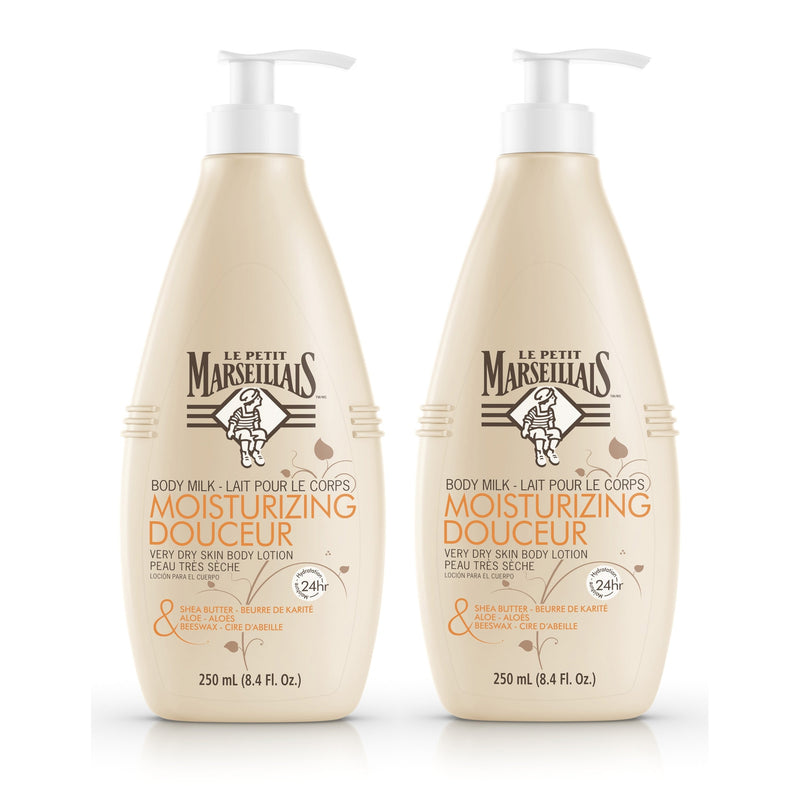 Le Petit Marseillais Shea Butter, Aloe & Beeswax Nourishing Body Milk Lotion, 8.4 fl. oz 2 Pack