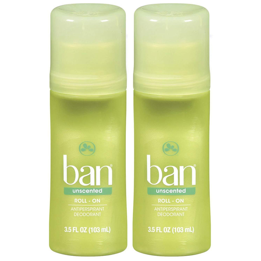 Ban Roll-On Deodorant, Unscented - 3.5 oz - 2 Pack