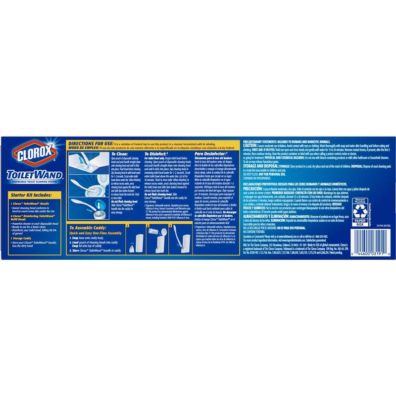 Clorox Toilet Wand Disposable Toilet Cleaning System Set, 6ct Refill