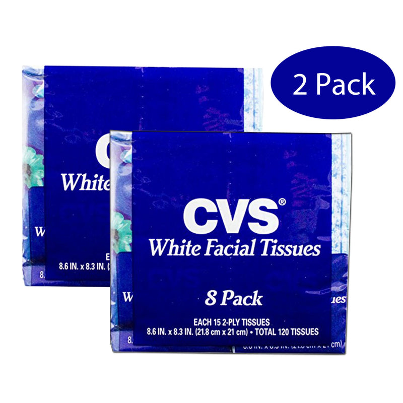 CVS 2-Ply White Facial Tissues (Sixteen 15ct Softpacks, Total 240 Tissues)