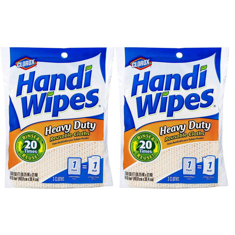 Clorox Handi Wipes Heavy Duty Reusable Cloths, 3ct, 2 Pack