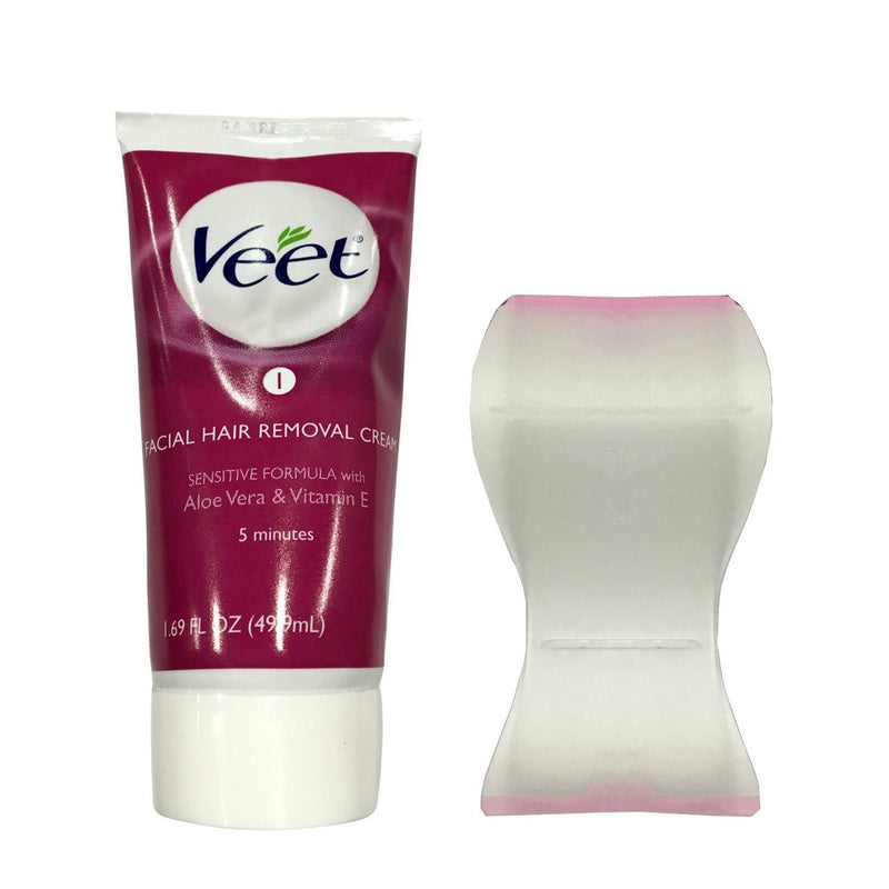 Veet Facial Hair Remover Cream 1.69 Oz Tube Includes Applicator