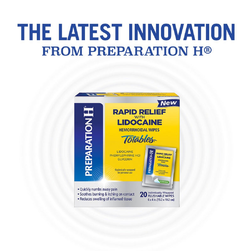 Preparation H Rapid Relief Flushable Totable Lidocaine Hemorrhoidal Wipes, 10 Count, 2 Pack