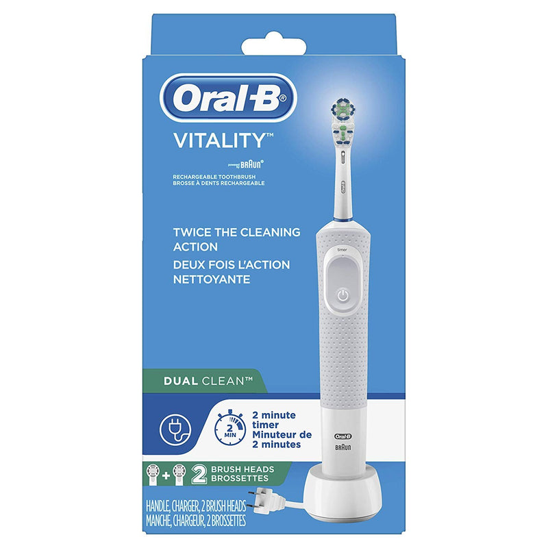 Oral-B Vitality Dual Clean Rechargeable Electric Toothbrush, Plus 2 Replacement Heads