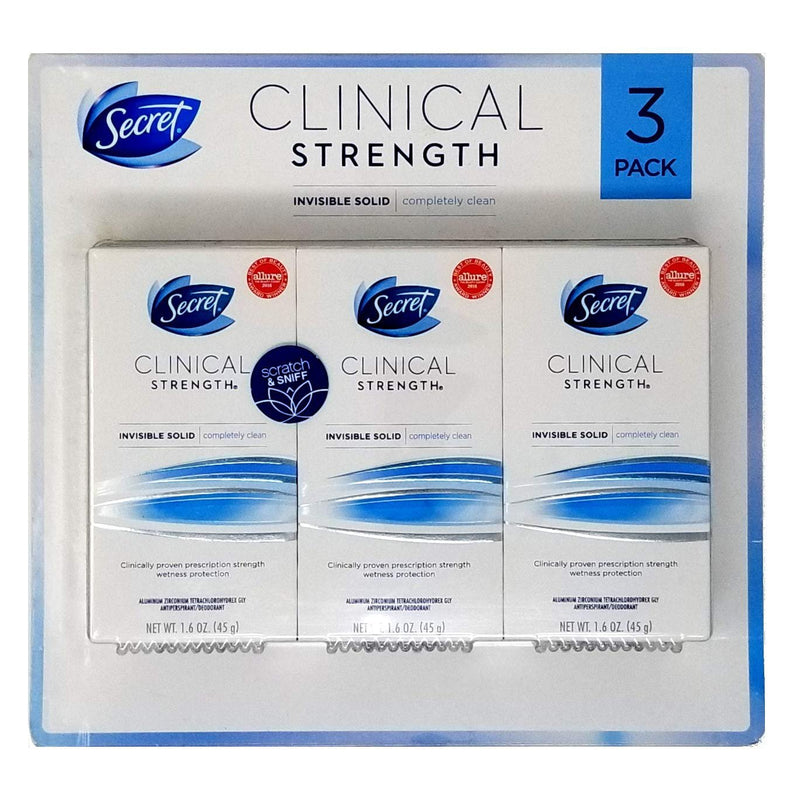 Secret Clinical Strength Invisible Solid Completely Clean Deodorant (1.6 oz., 3pk)