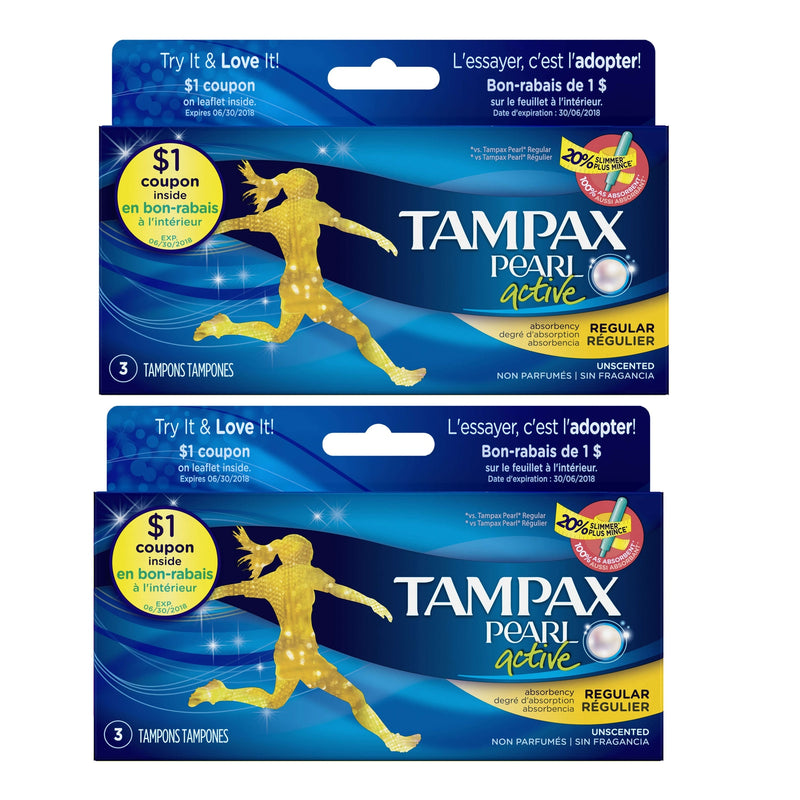 Tampax Pearl Tampons with Plastic Applicator, Regular, Unscented, 3ct, 2 Pack