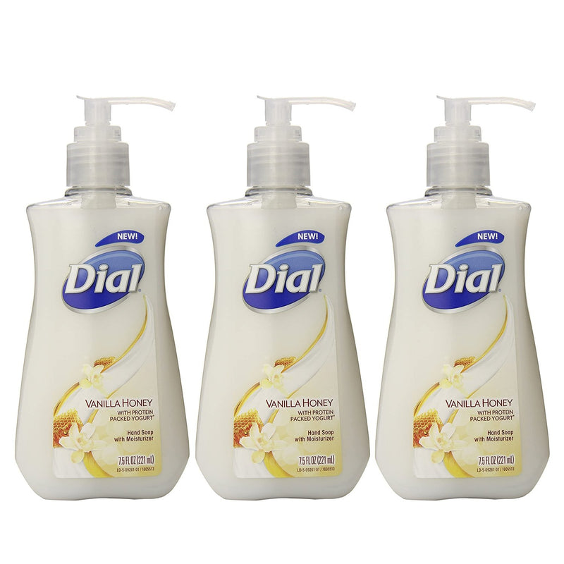 Dial Liquid Hand Soap, Vanilla Honey with Protein Packed Yogurt, 7.5 oz, 3 Pack