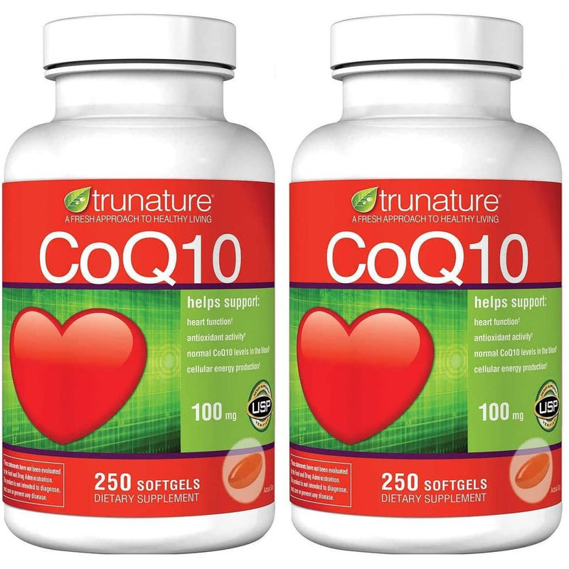 TruNature Coenzyme CoQ10 100mg, 250 Softgels, 2 Pack, 500 Soft Gels Total