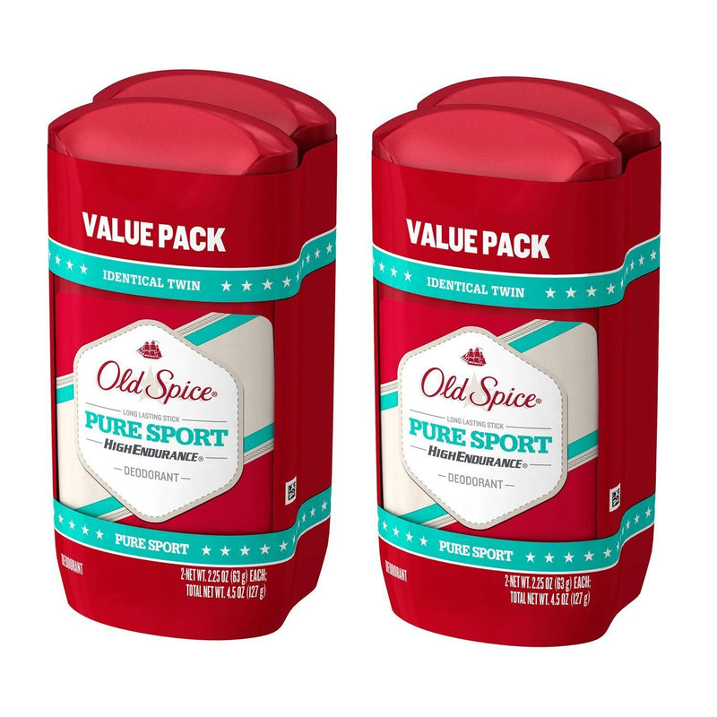 Old Spice High Endurance Pure Sport Scent Men's Deodorant, 2 Twin Packs of 2.25 Oz, 4 Total Pack
