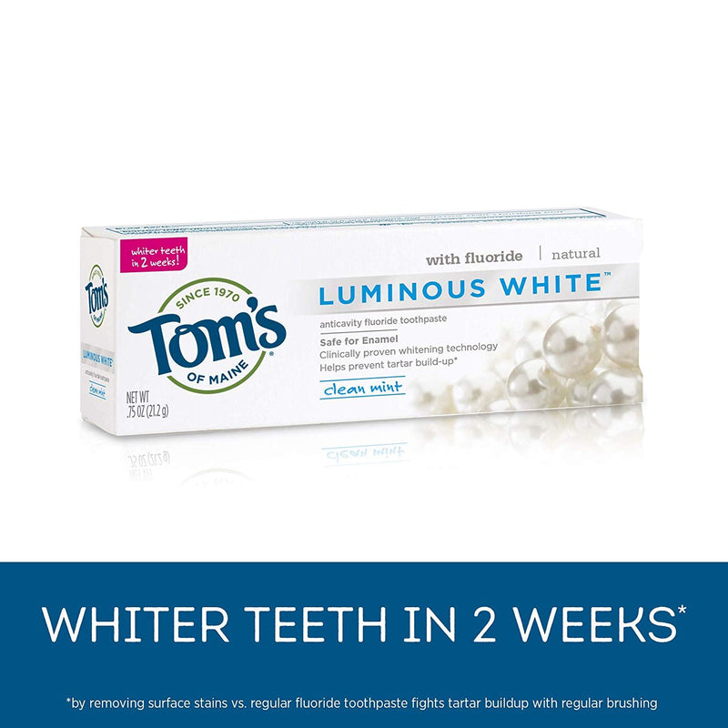 Tom's of Maine Luminous Toothpaste, Natural Toothpaste, Travel Size Clean Mint, 0.75 Ounce, 12-Pack