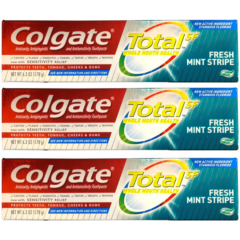 Colgate Total Toothpaste Fresh Mint Stripe 6 oz (Pack of 3)