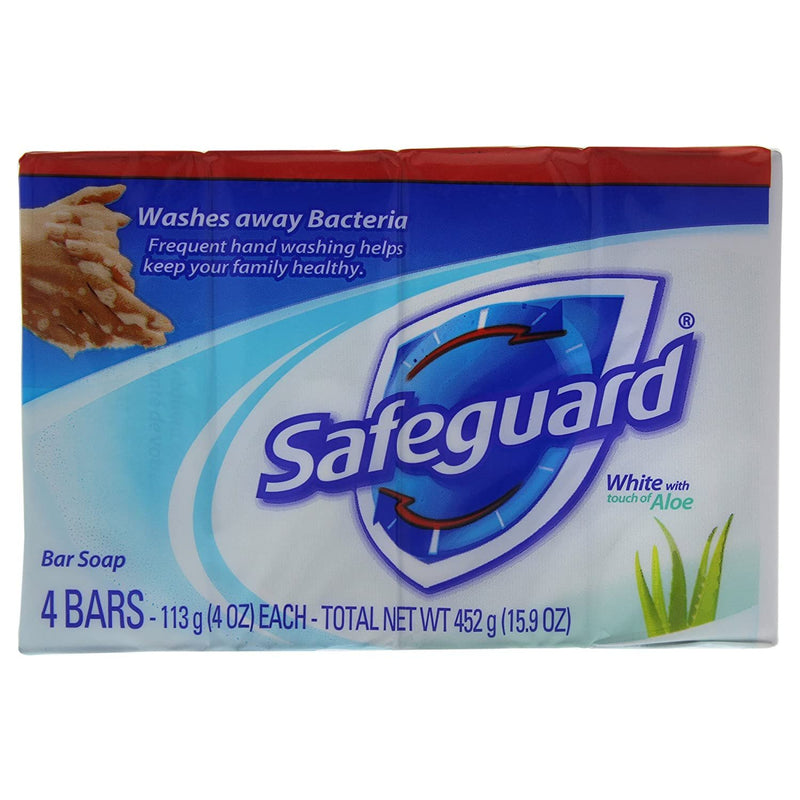 Safeguard Deodorant Soap, White, 4 oz Bars, 4 Count