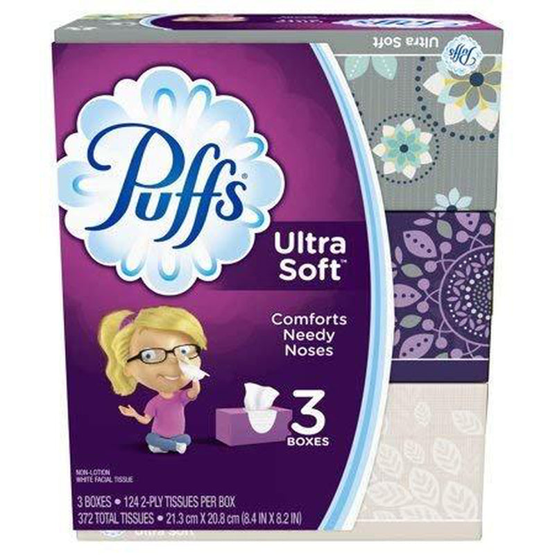 Puffs Ultra Soft Facial Tissues, 3 Boxes of 124 Tissues, 372 Total