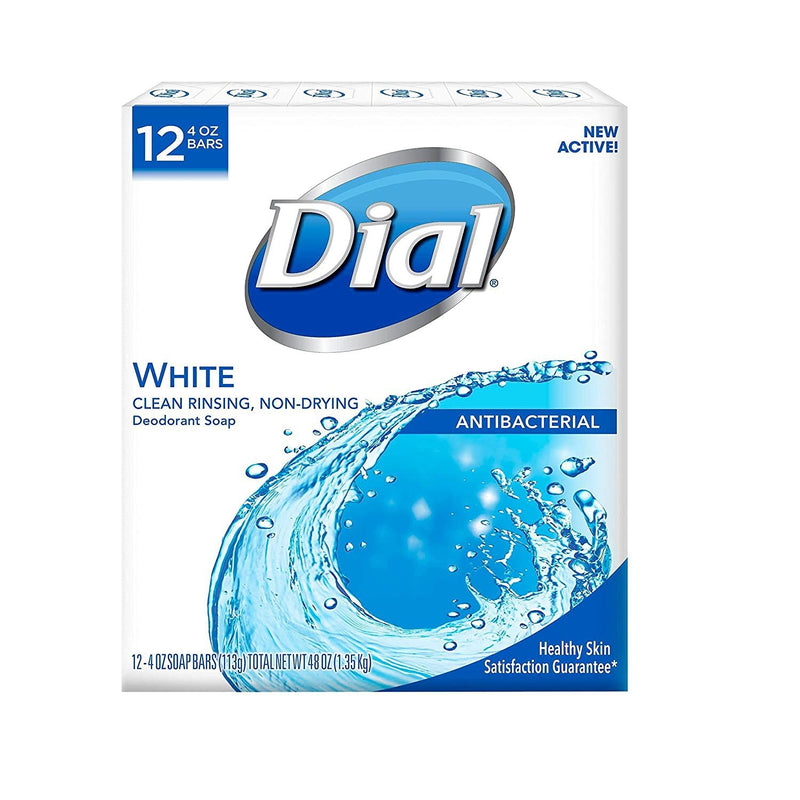 Dial Antibacterial Deodorant Soap, White - 4 Ounce, 12 Bars