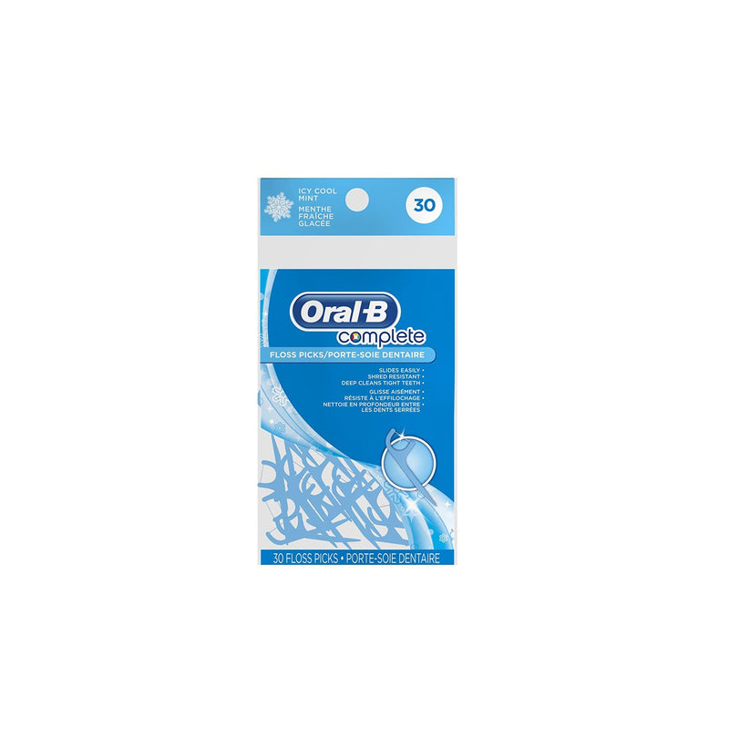 Oral-B Complete Floss Picks, Icy Mint, 30 Count