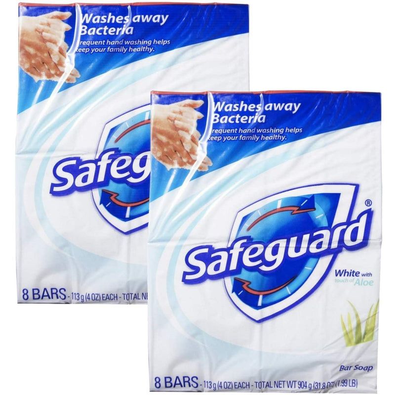 Safeguard Antibacterial Soap, White with Aloe, 4 oz bars, 8 Count (Pack of 2)