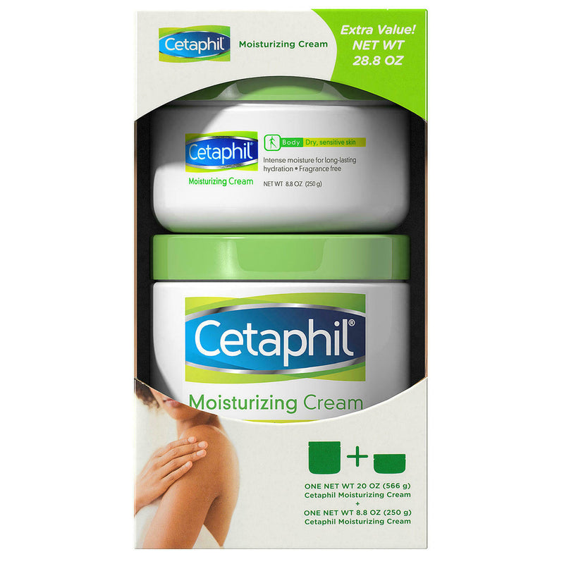 Cetaphil Moisturizing Cream For Dry Sensitive Skin, Fragrance Free, Extra Value Pack 20 oz + 8.8 oz