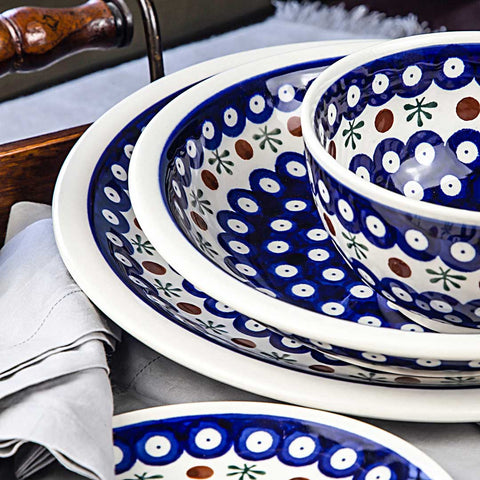 plates and bowls from ceramic hand-decorated Polish pottery mosquito design 41