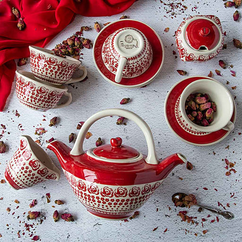 hand-decorated coffee tea set from roses collection viewed from above