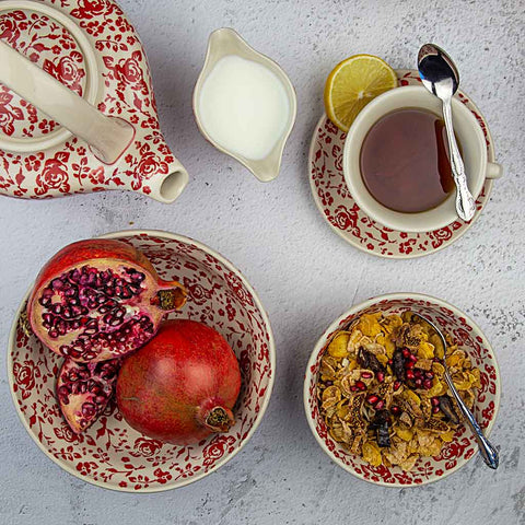 breakfast served on ceramic hand-decorated tableware from roses collection