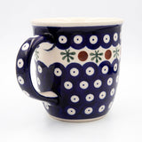 41 mosquito pattern hand decorated ceramic coffee tea mug handle  Polish pottery