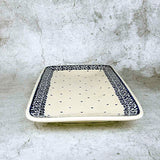 hand-decorated rectangular platter from Polish pottery 56 collection