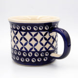 60 blue diamonds ceramic hand decorated coffee tea mug handle view