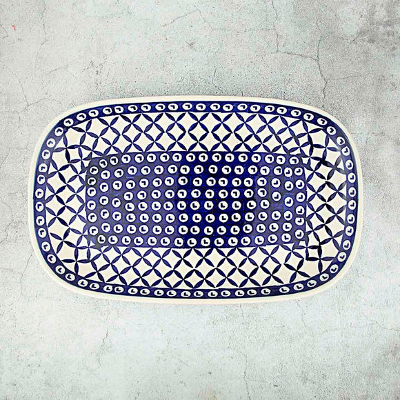 Blue Diamond Hand-Decorated Oval Dish 28 cm x 17,5 cm