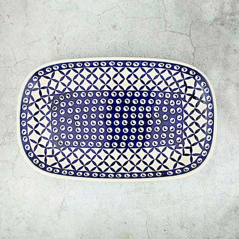 60 HAND-DECORATED OVAL DISH 28 CM X 17,5 CM