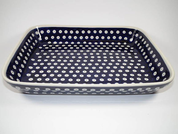 Polka Dot Hand-Decorated Deep Platter Medium With Grooved Bottom