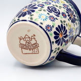 du126 blue summer garden hand-decorated coffee tea mug with hand made stamp on the bottom