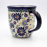 du126 blue summer garden Polish pottery hand decorated coffee tea mug handle view
