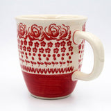 gr 33 red roses hand decorated coffee tea mug handle