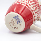 hand made in poland stamp on thebottom of gr33 hand decorated ceramic coffee tea mug from gr 33 red roses collection from Polish pottery